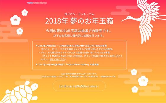 ヨドバシカメラWeb福袋2018年に事前申し込みに申込んだ結果
