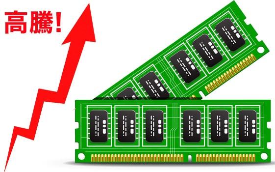 パソコンのメモリーが高すぎる!価格高騰はいつ値下がりするの?価格推移から予想