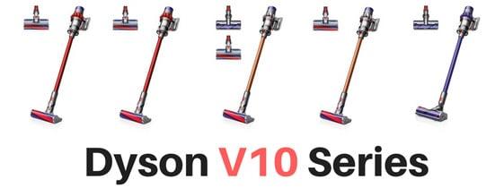 ダイソンV10の5つモデルの付属品について