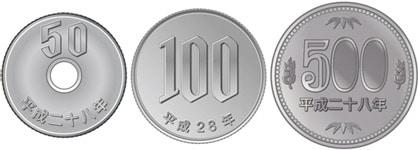 50円・100円・500円硬貨(ニッケル合金)